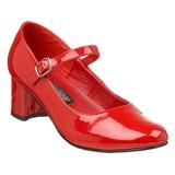 Rosso Vernice 5 cm SCHOOLGIRL-50 Scarpe Décolleté Classico Donna