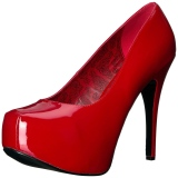 Rosso Verniciata 14,5 cm Burlesque TEEZE-06W scarpe décolleté per piedi larghi da uomo