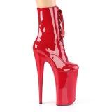 Rosso Verniciata 25,5 cm BEYOND-1020 tacchi estremi - stivaletti più plateau alto
