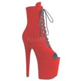 Rosso faux suede 20 cm FLAMINGO-1021FS stivaletti da pole dance