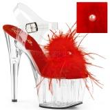 Rosso piume di marabu 18 cm ADORE-708MF scarpe da pole dance