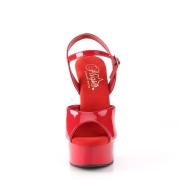 Rosso sandali pleaser con plateau e tacco 15 cm EXCITE-609