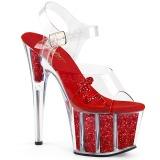 Rosso scintillare 18 cm Pleaser ADORE-708GTG sandali con tacchi da pole dance