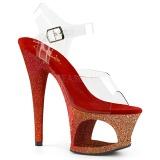 Rosso scintillare 18 cm Pleaser MOON-708OMBRE scarpe con tacchi da pole dance