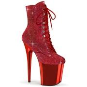 Rosso strass stivaletti pleaser con plateau e tacco 20 cm FLAMINGO-1020CHRS