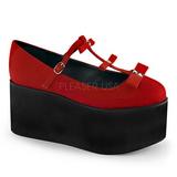 Rosso tela 8 cm CLICK-08 scarpe lolita gotico calzature suola spessa