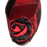Rosso tessuto del merletto 13,5 cm BELLA-17 Sandali da Sera con Tacco Alto