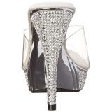 Silver 11,5 cm ELEGANT-401 Rhinestones platform mules womens