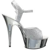 Silver 15 cm Pleaser DELIGHT-609G Chrome Platform High Heel