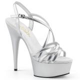 Silver 15 cm Pleaser DELIGHT-613 Womens High Heel Sandals