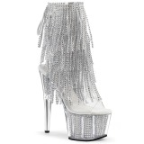 Silver 18 cm ADORE-1017SRS womens fringe ankle boots high heels