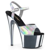 Silver 18 cm ADORE-709HGCH Hologram platform high heels shoes
