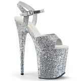Silver 20 cm FLAMINGO-810LG glitter platform high heels shoes