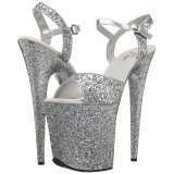 Silver 20 cm FLAMINGO-810LG glitter platform high heels shoes