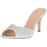 Silver 8,5 cm LUCY-01 glitter mules shoes womens