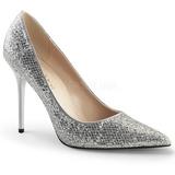 Silver Glitter 10 cm CLASSIQUE-20 big size stilettos shoes