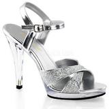 Silver Glitter 12 cm FLAIR-419G Womens High Heel Sandals