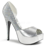Silver Glitter 14,5 cm Burlesque TEEZE-41W mens pumps for wide feets
