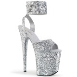Silver Glitter 20 cm Pleaser FLAMINGO-891LG High Heels Platform