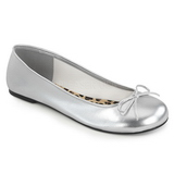 Silver Leatherette ANNA-01 big size ballerinas shoes
