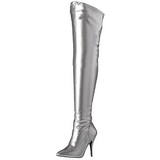 Silver Matte 13 cm SEDUCE-3000 Overknee Boots Flat Heels
