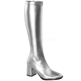 Silver Matte 7,5 cm GOGO-300 High Heeled Womens Boots for Men