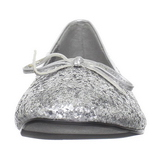 Silver STAR-16G glitter flat ballerinas womens shoes