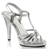 Silver Shiny 12 cm FLAIR-420 Womens High Heel Sandals