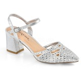 Silver glitter 7 cm Fabulicious FAYE-06 high heeled sandals
