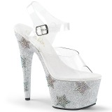 Silver rhinestones 18 cm ADORE-708STAR Pole dancing high heels shoes