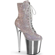 Silver rhinestones 20 cm FLAMINGO-1020CHRS-2 pleaser high heels ankle boots