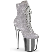 Silver rhinestones 20 cm FLAMINGO-1020CHRS pleaser high heels ankle boots