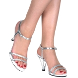 Silver rhinestones 8 cm BELLE-316 transvestite shoes