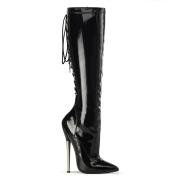 Stivali al ginocchio vernice con punta e lacci 16 cm stivali con tacco a spillo in metallo