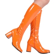 Stivali anni 70 vernice arancioni 7,5 cm hippie disco stivali sotto il ginocchio tacco a blocco