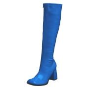 Stivali anni 70 vernice blu 7,5 cm hippie disco stivali sotto il ginocchio tacco a blocco