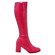Stivali anni 70 vernice pink 7,5 cm hippie disco stivali sotto il ginocchio tacco a blocco