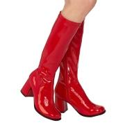Stivali anni 70 vernice rossi 7,5 cm hippie disco stivali sotto il ginocchio tacco a blocco