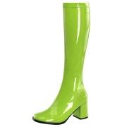 Stivali anni 70 vernice verdi 7,5 cm hippie disco stivali sotto il ginocchio tacco a blocco