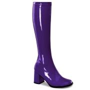 Stivali anni 70 vernice viola 7,5 cm hippie disco stivali sotto il ginocchio tacco a blocco