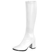 Stivali anni 70 vinile bianchi 7,5 cm hippie disco stivali sotto il ginocchio tacco a blocco
