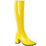 Stivali gialli vernice 7,5 cm GOGO-300 stivali tacco alto per uomo e crossdresser