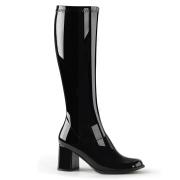 Stivali nera vernice 7,5 cm GOGO-300 stivali tacco alto per uomo e crossdresser