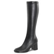 Stivali nera vinile 7,5 cm GOGO-300 stivali tacco alto per uomo e crossdresser