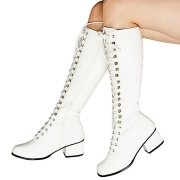 Stivali stringati anni 70 vernice bianchi 5 cm hippie disco stivali sotto il ginocchio