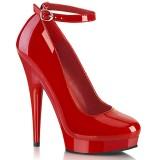 Tacchi alti rosso 15 cm SULTRY-686 tacchi decoltè cinturino alla caviglia