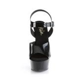 Tacco alto neri 15 cm DELIGHT-608N JELLY-LIKE materiale elasticizzato tacco alto plateau