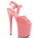 Tacco alto rosa 20 cm FLAMINGO-808N JELLY-LIKE materiale elasticizzato tacco alto plateau