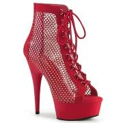 Tessuto a rete e strass 15 cm DELIGHT Stivali alla caviglia con stringati in rosso