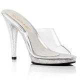 Transparent 11,5 cm Fabulicious FLAIR-401MG glitter mules shoes